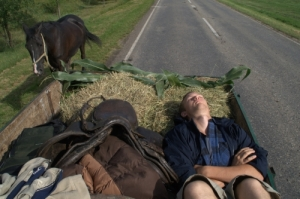 kenneth asleep on horsecart