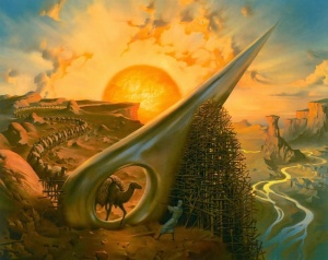 Source: Art in Russia. Image: Vladimir Kush, Through the Eye of the Needle.