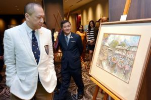 Source: The Star Online. Image: Mesmerising: Nazri looking at a painting on display at the Inspirasi Alam and Malaysia Rupawan exhibition in Hotel Pullman KL here yesterday. The expo is part of 1MCAT.