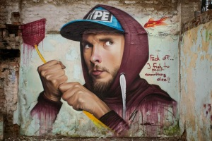 "Source: Street Art News. Image: Lonac, ""Buzz off""."