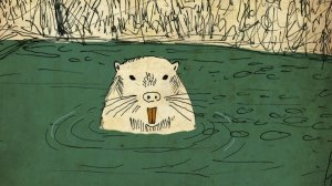 """Source: The Seattle Times. Image: Drew Christie's """"Hi! I'm a Nutria"""" packs a small history lesson. (Erika Schultz / The Seattle Times)"""
